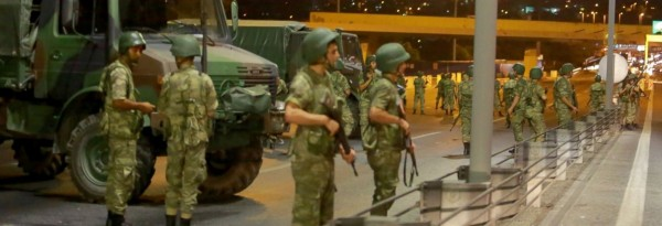 Turkish soldiers in Turkey, Middle East, blocking motorway and bridges