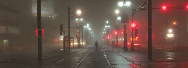 Gothic city streets in fog at night, horror or fantasy