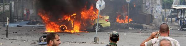 Missiles and bombs from the Islamic State cause explosions during the conflict in Syria and Iraq