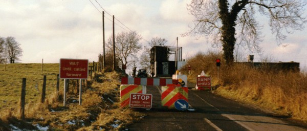 A heavily fortified British Army border checkpoint in the UK Occupied North of Ireland, defending Britain's rule in the north-eastern region of the island