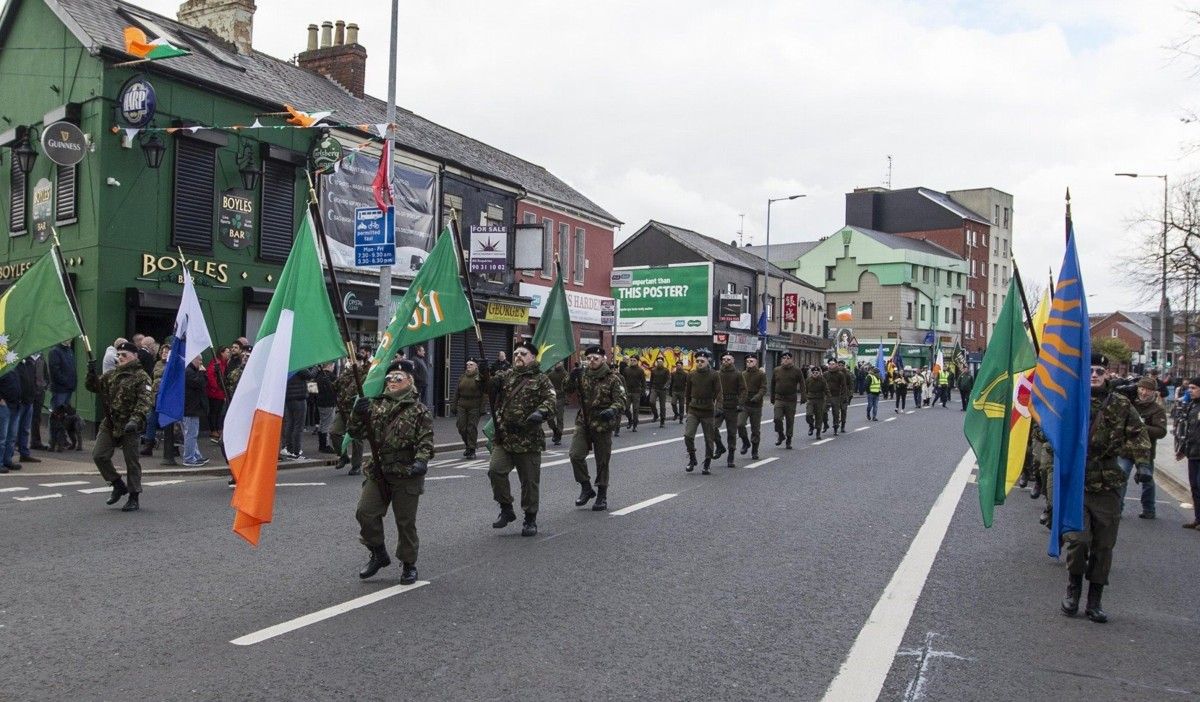 "Saoradh Holds ""Unfinished Revolution"" Parade To Mark Easter Rising Anniversary"